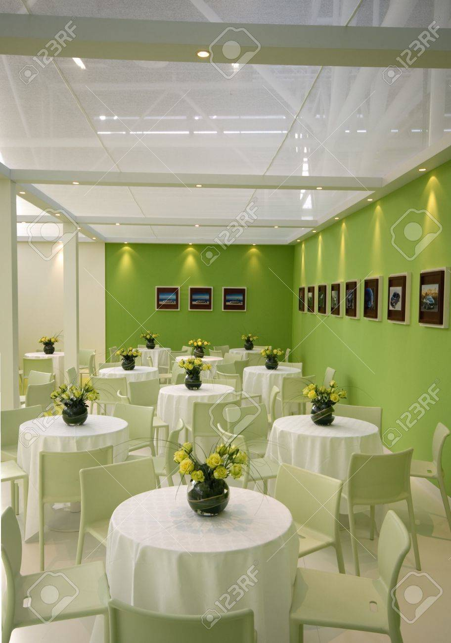 green interior in a cool restaurant stock photo, picture and
