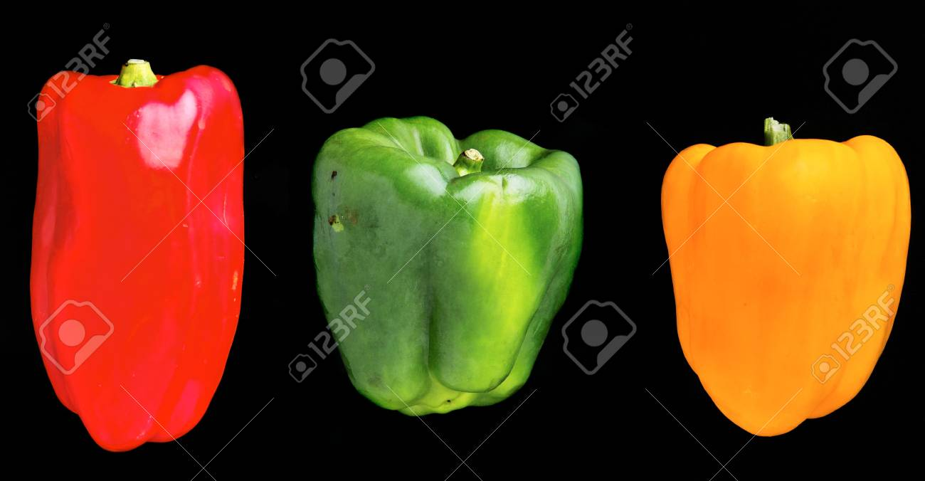 Yellow, green and red bell pepper isolated on a pure black background Stock Photo - 4652820