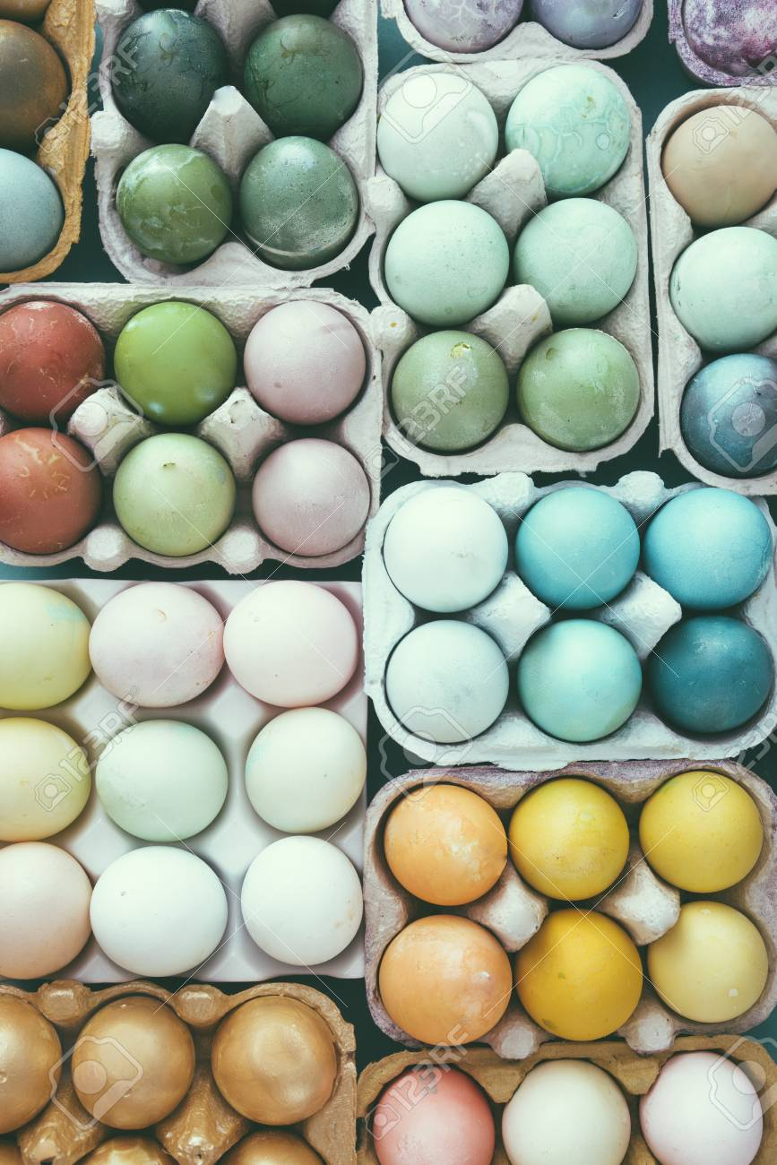 Colored Easter Eggs Set For Easter Holidays Colored With Different Stock Photo Picture And Royalty Free Image Image 97782627