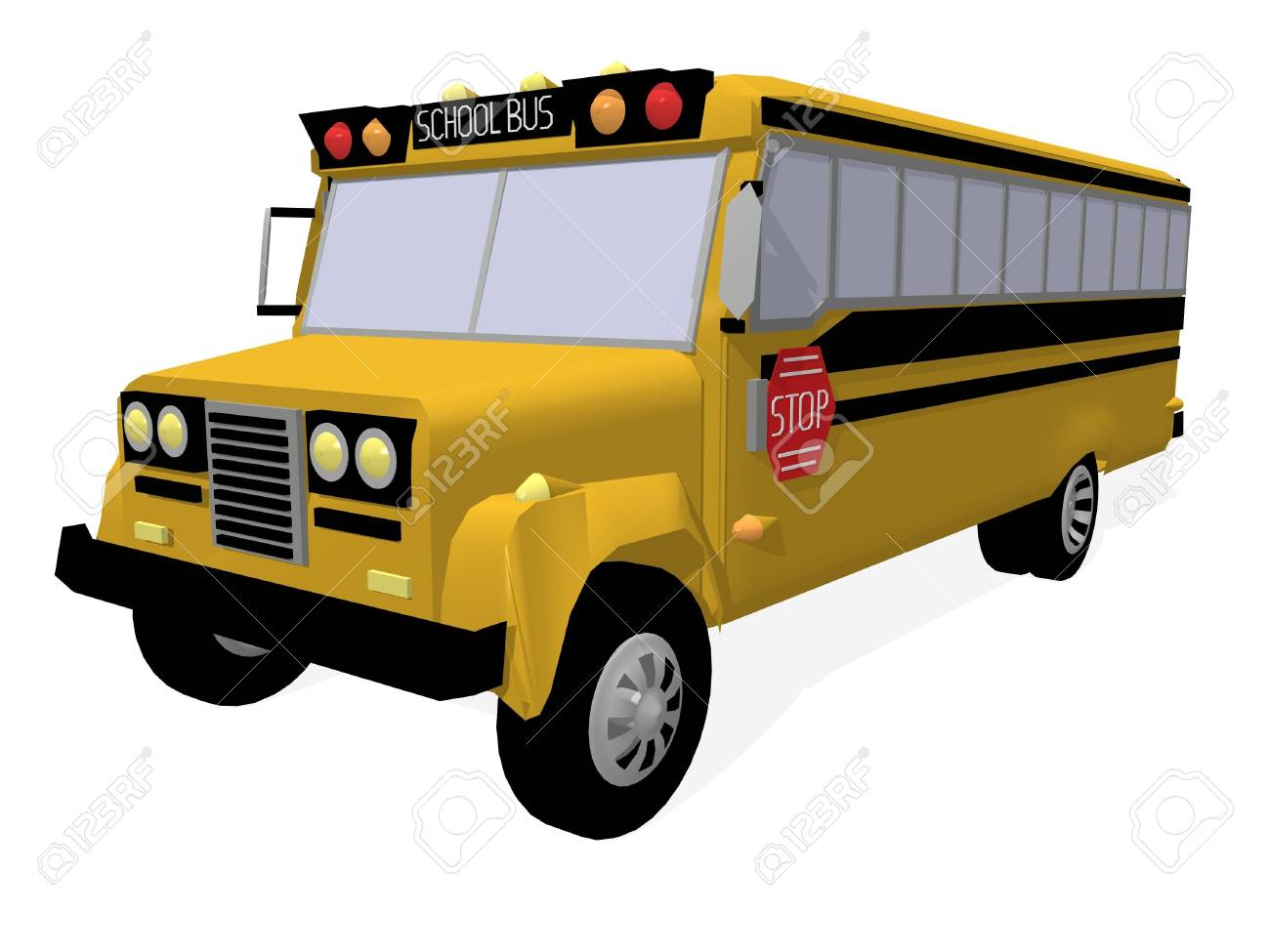 a 3d rendering of an american schoolbus Stock Photo - 1828509