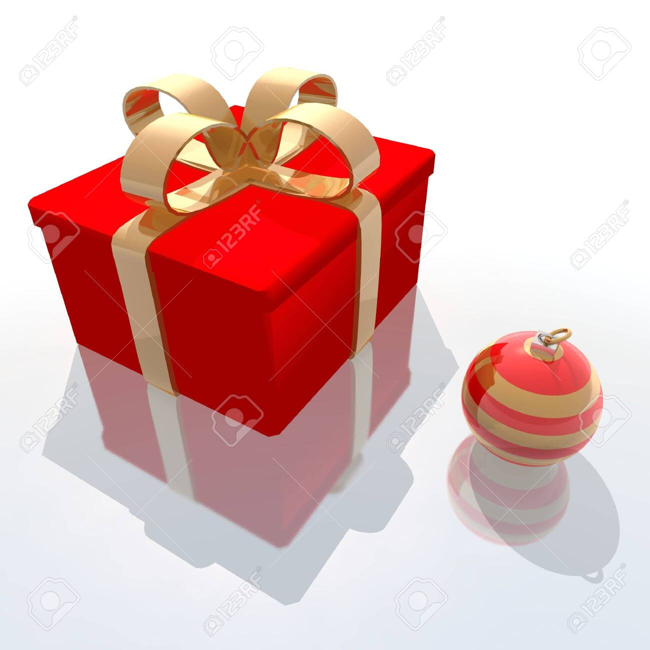 a 3d render of red gift and christmas ball Stock Photo - 1962482