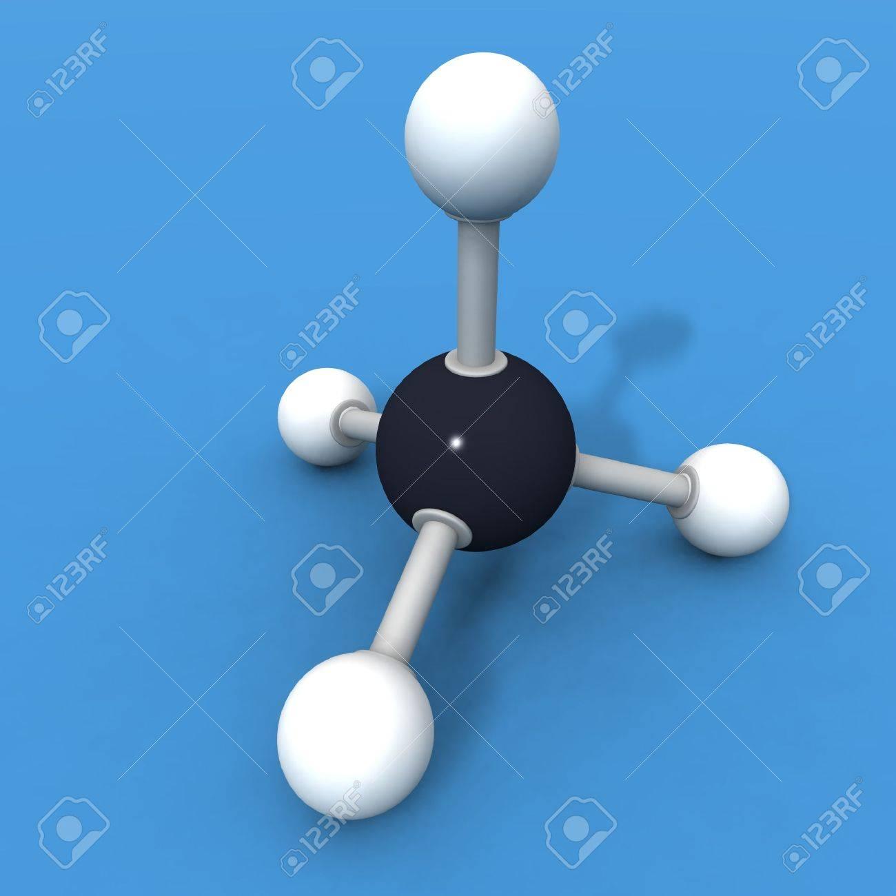 hacer un 3d de una molécula de metano  Foto de archivo - 2263246
