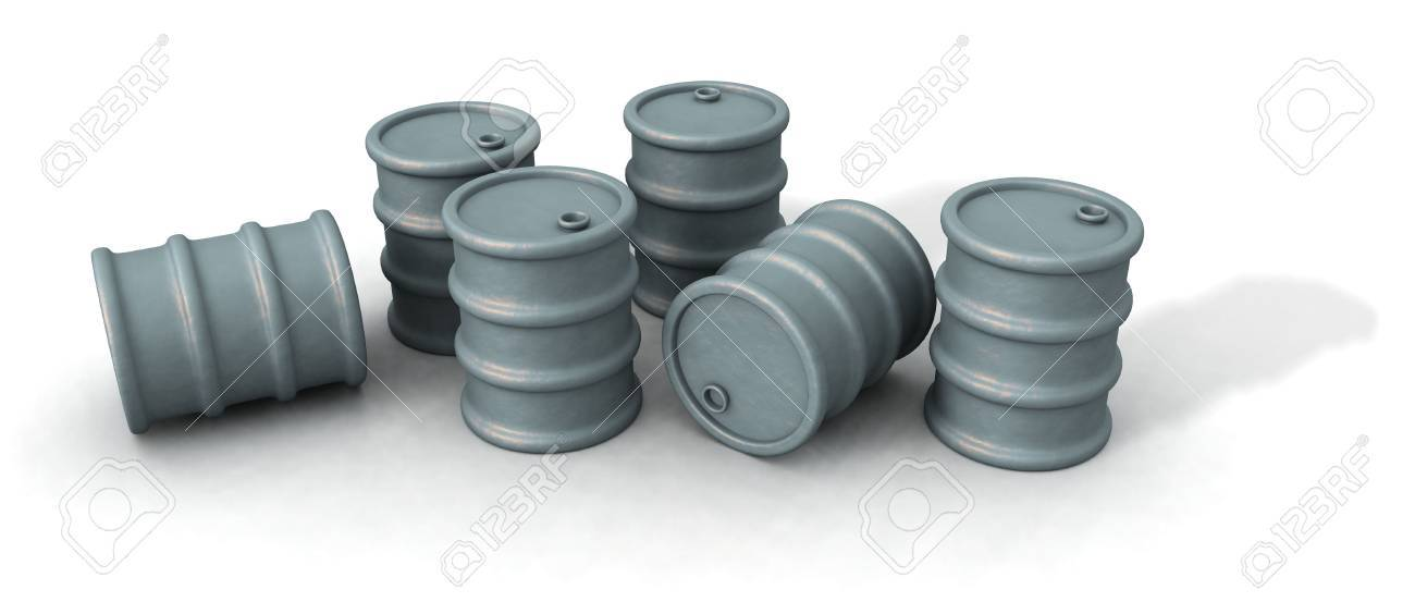 a 3d render of some oil barrels over a white background Stock Photo - 2282397