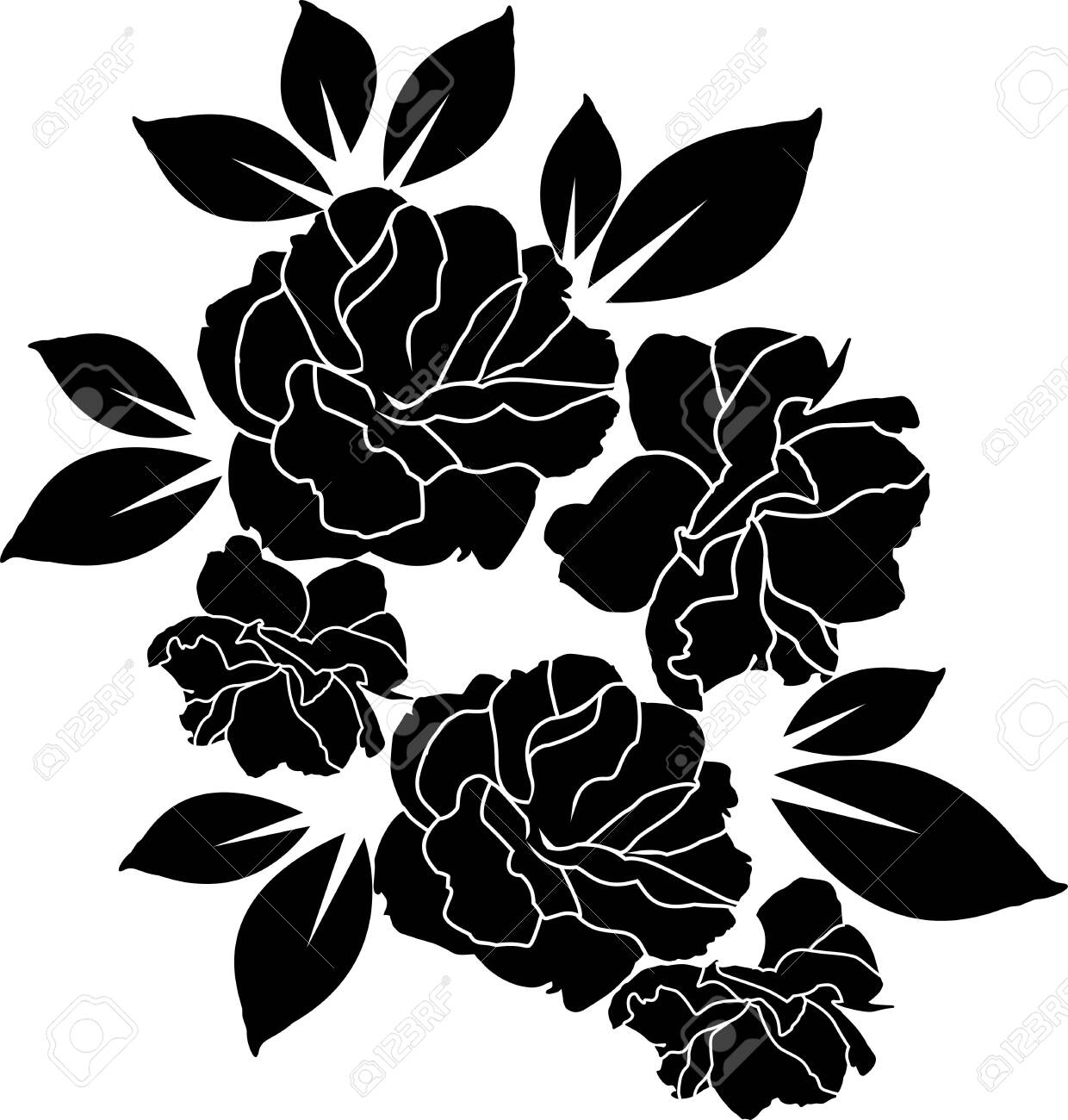 rose black and white wallpaper or textile clean design - 149667887
