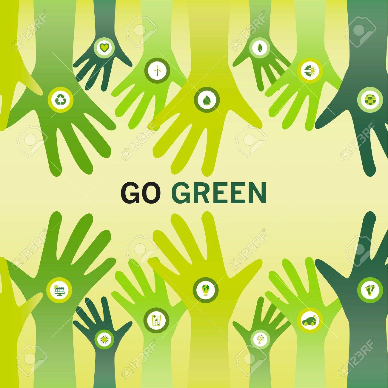Favori Mains Décorées Avec Une Icône Bio Et Acclamer Le Slogan Go Green  XN63