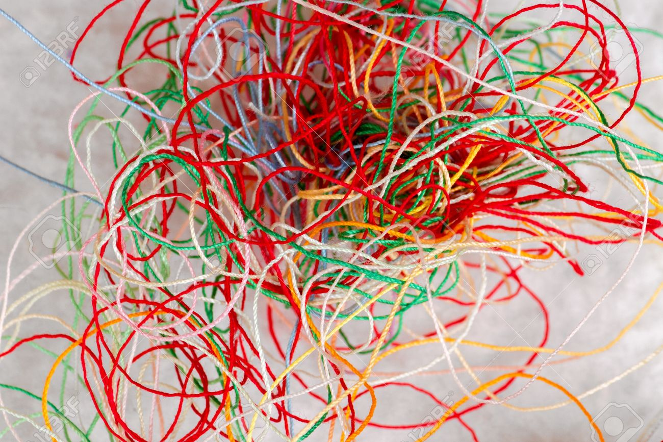 A Pile Of Tangled Up Tatting Yarn Which Looks Like Colorful Stock Photo Picture And Royalty Free Image Image 63903693