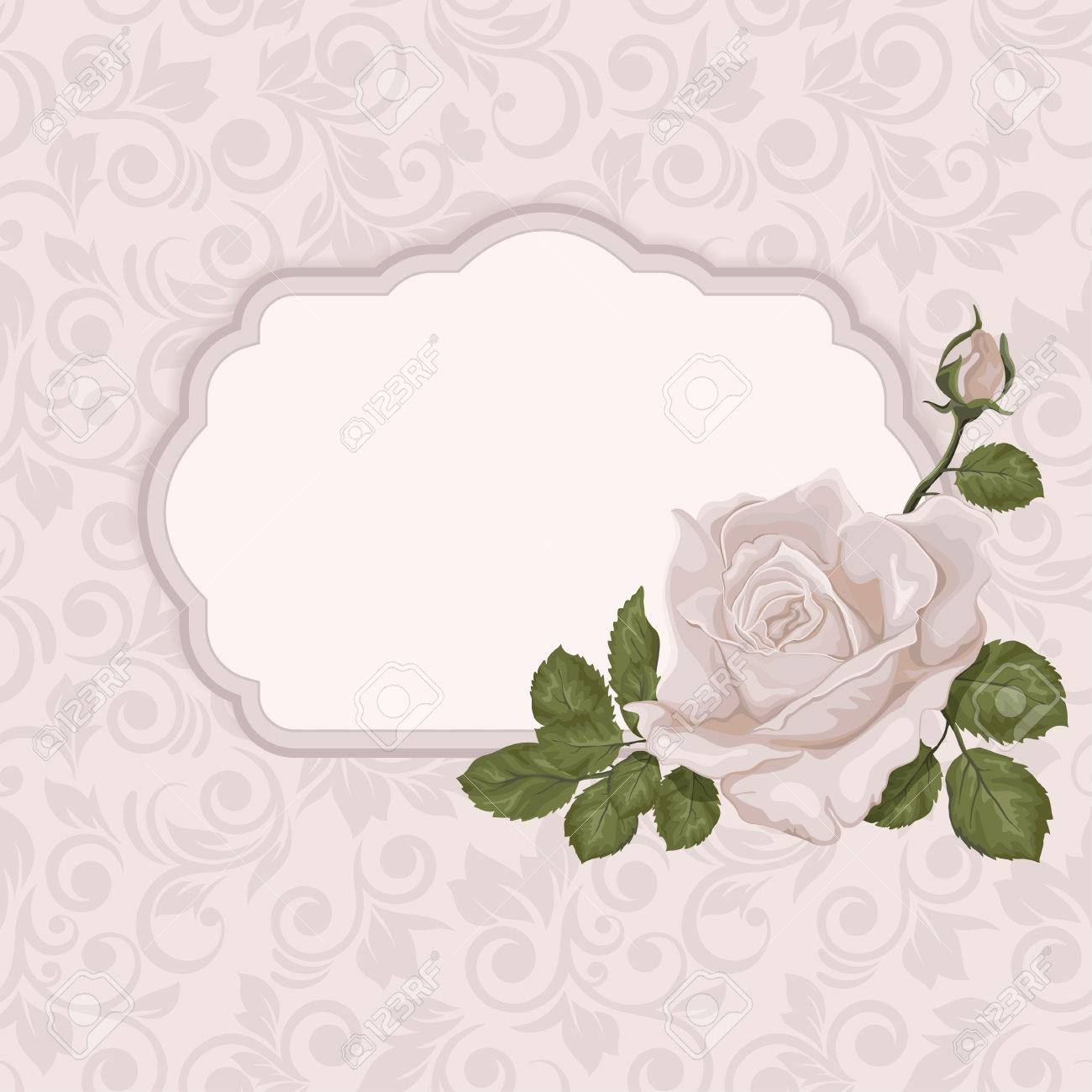 Card with rose and frame in pastel colors wedding card or card with rose and frame in pastel colors wedding card or invitation with abstract flora background stopboris Image collections