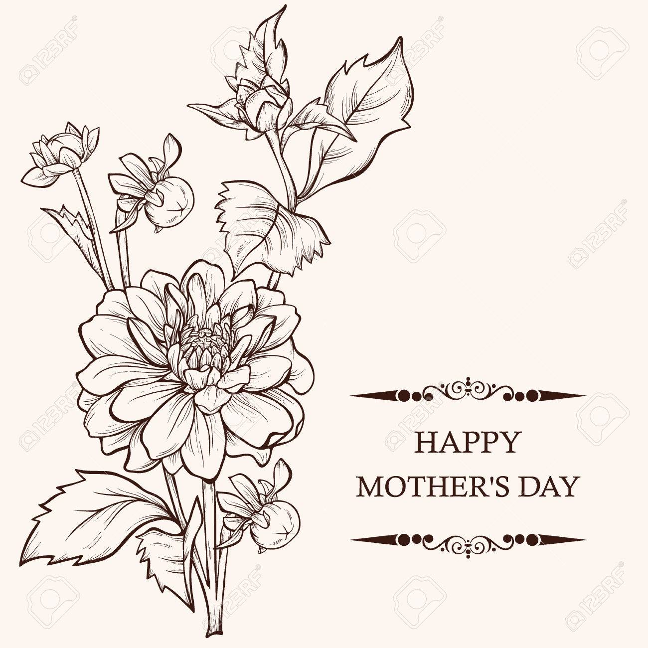 mother u0027s day card design vector illustration bouquet of flowers