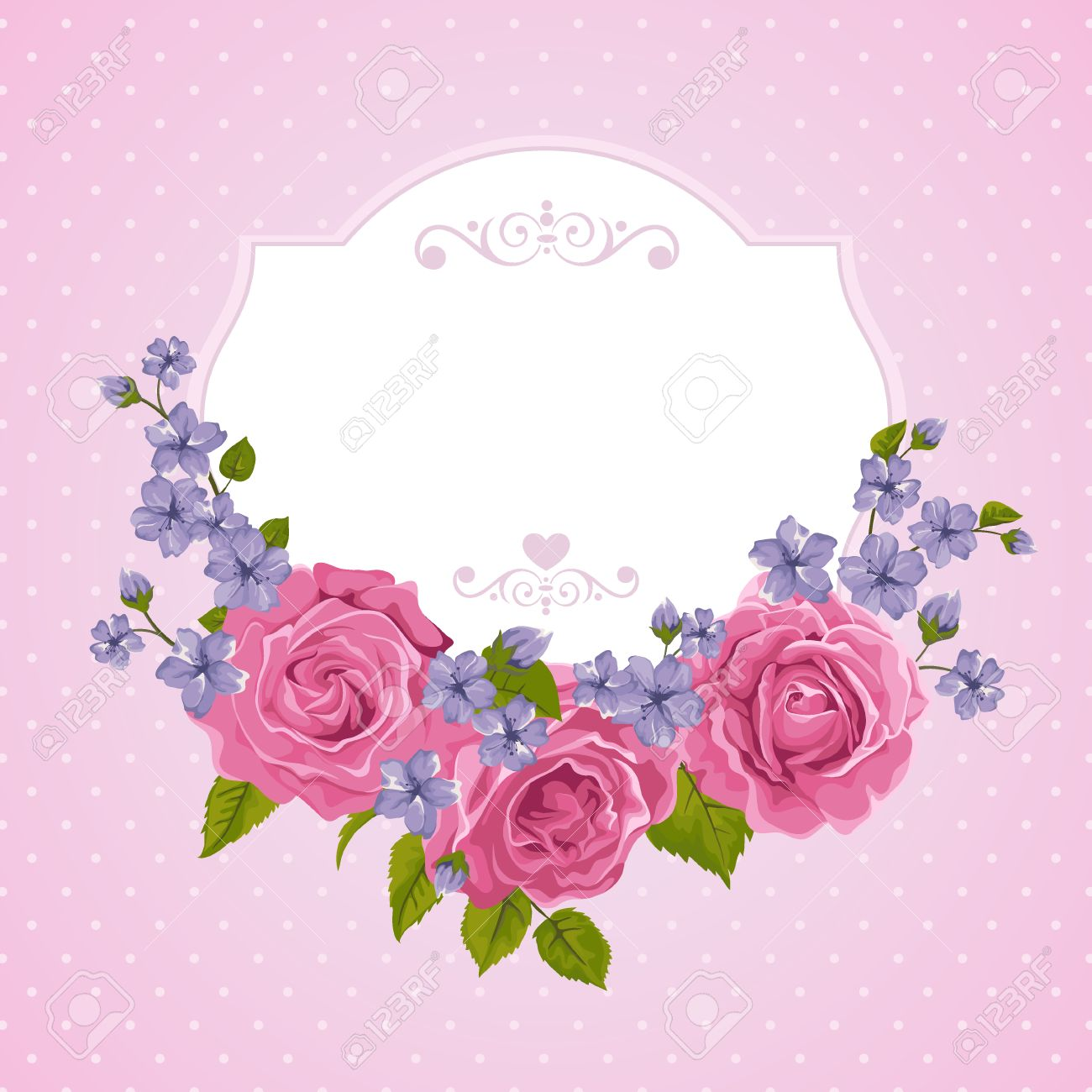 Floral greeting card with roses and frame background with polka floral greeting card with roses and frame background with polka dot perfect for greeting kristyandbryce Image collections