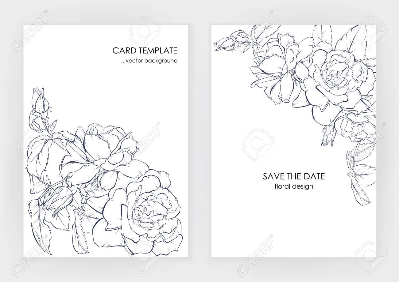 Minimalist Wedding Invitation Card Template Design Floral Dark