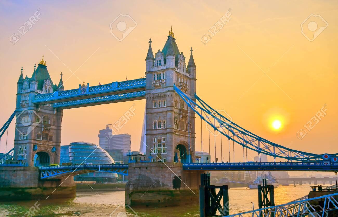 Tower Bridge across the River Thames in London, UK. - 126667210