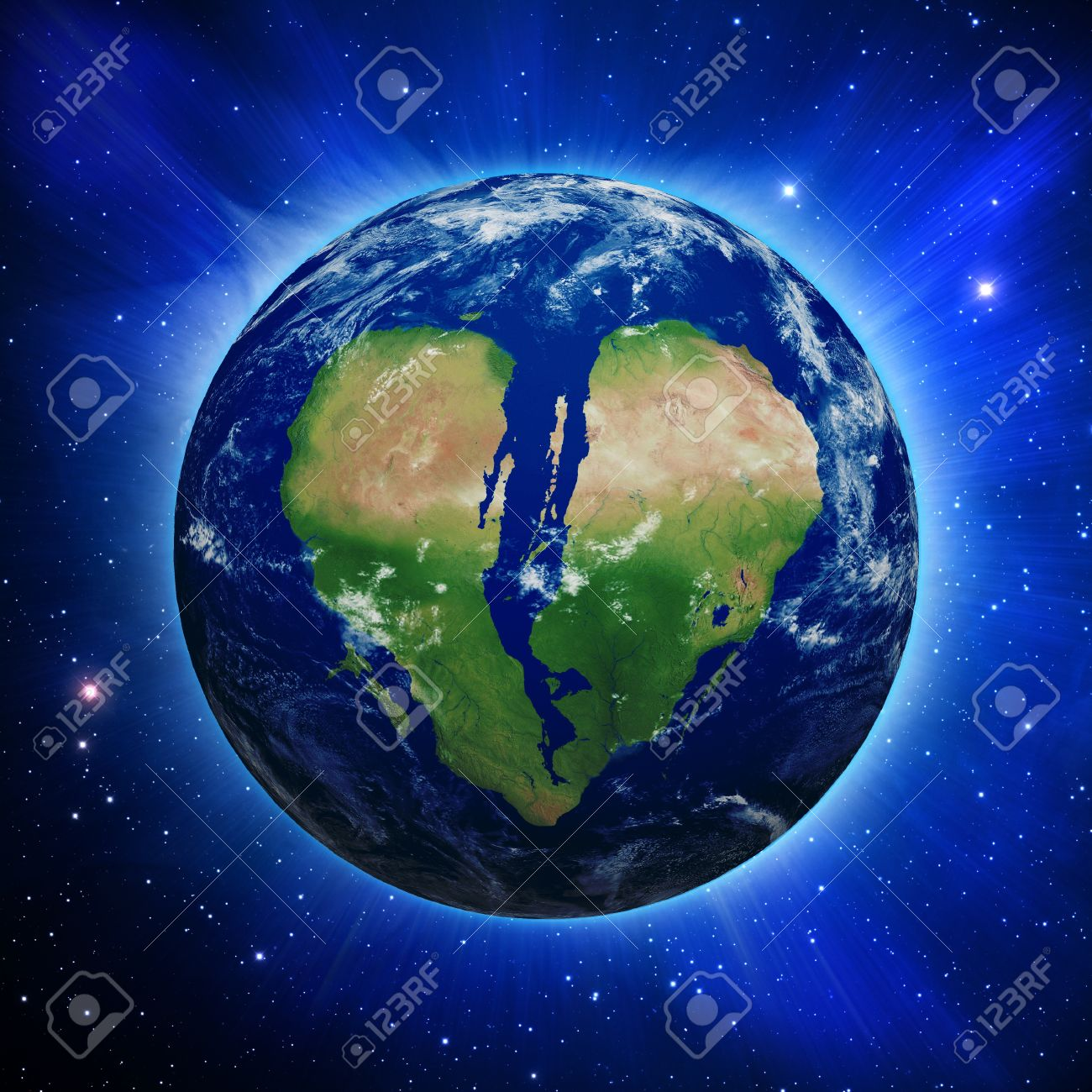 Planet Earth with broken heart shaped continents and clouds over a starry sky Stock Photo - 9841928