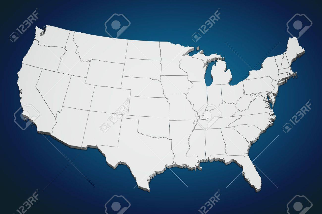 Map Of The Continental United States In 3D On Blue Background. Stock Map Of The Continental United States on