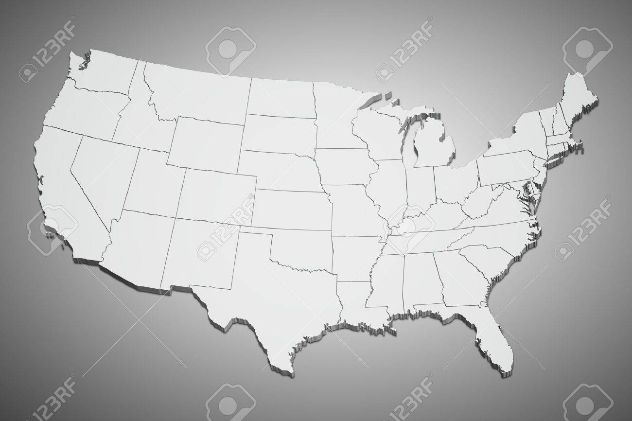 Map Of The Continental United States In D On Gray Background - Continental us map