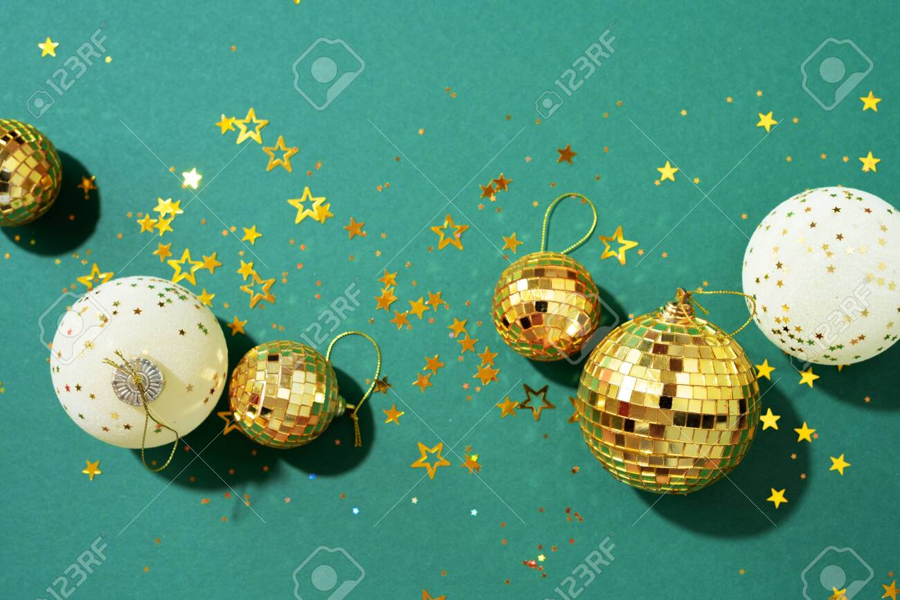 Christmas White And Gold Decorations Mirror Disco Balls Star