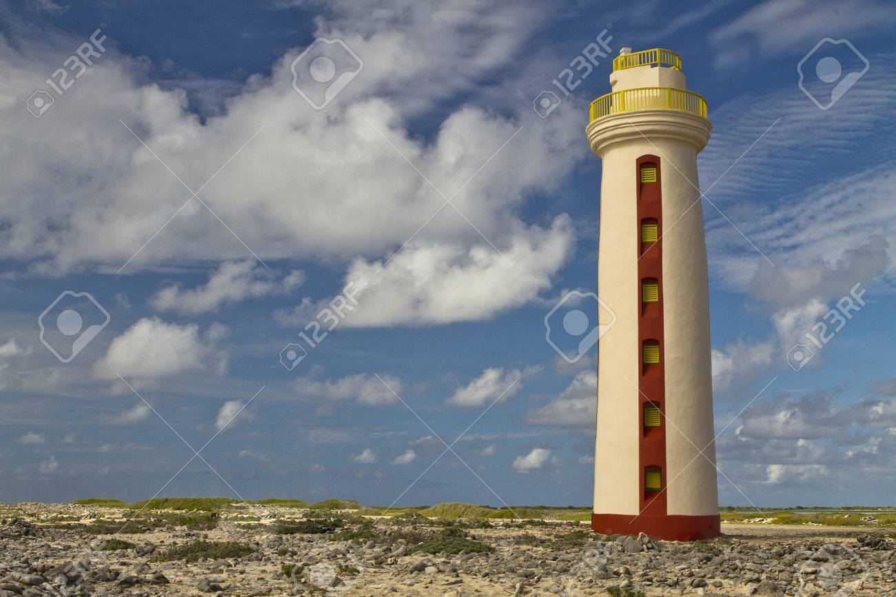 Willemstoren Lighthouse on Desert Island with Blue Skys and White Clouds Stock Photo - 17035961