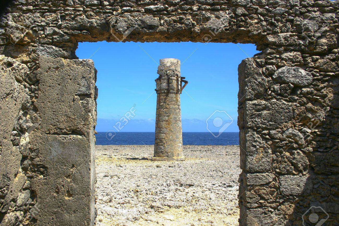 Stone Lighthouse Ruins by Oceanside Stock Photo - 17971688