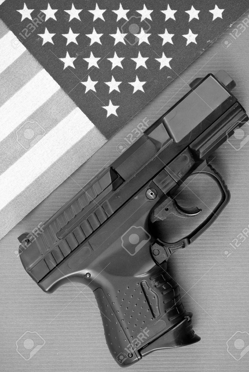 Black and White Image of Gun and Flag Stock Photo - 7885672