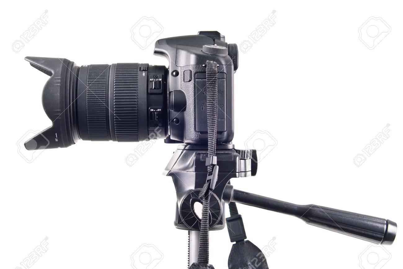 Professional DSLR Camera on Tripod Side View - 8478002