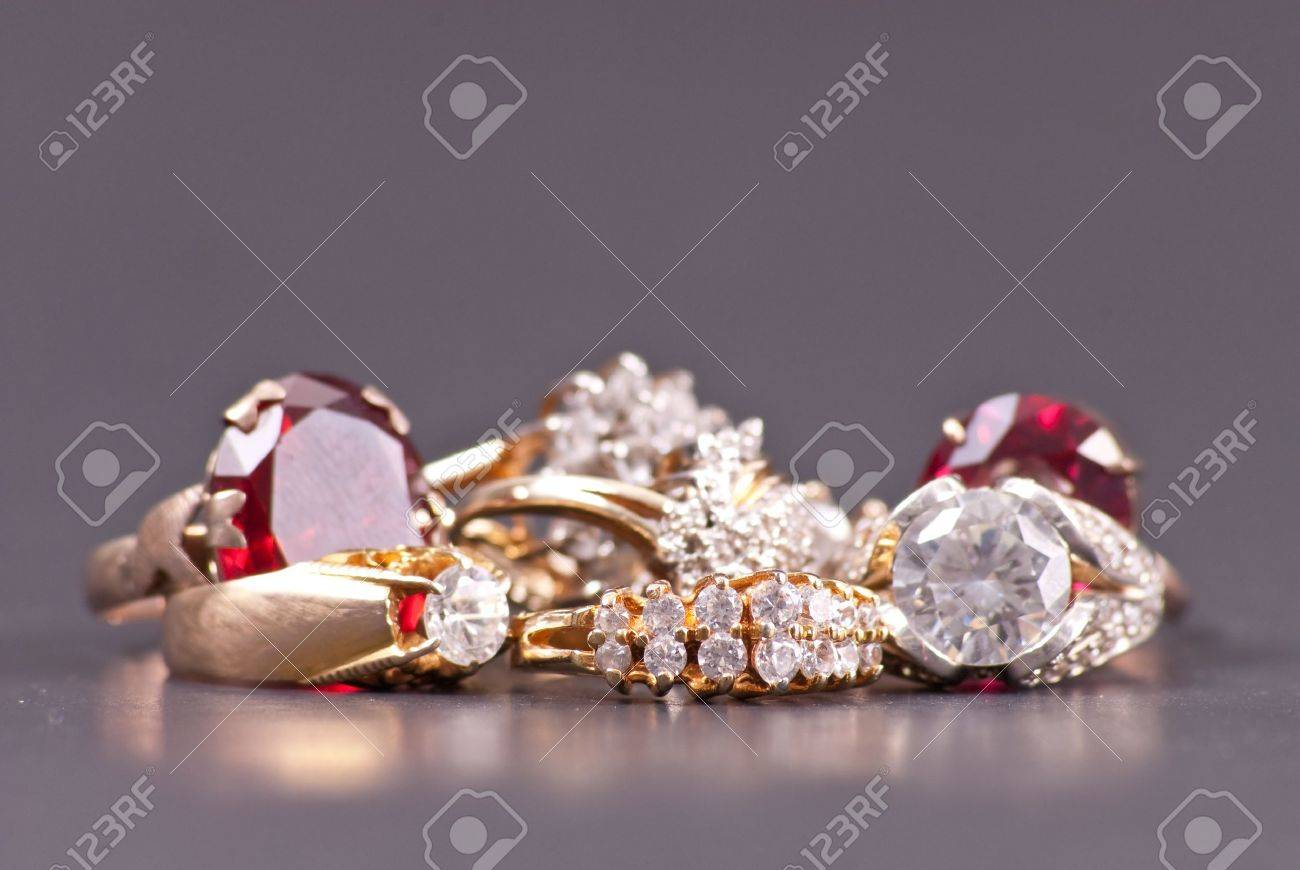 Costume Jewelry Gold And Diamond Rings Stock Photo Picture And