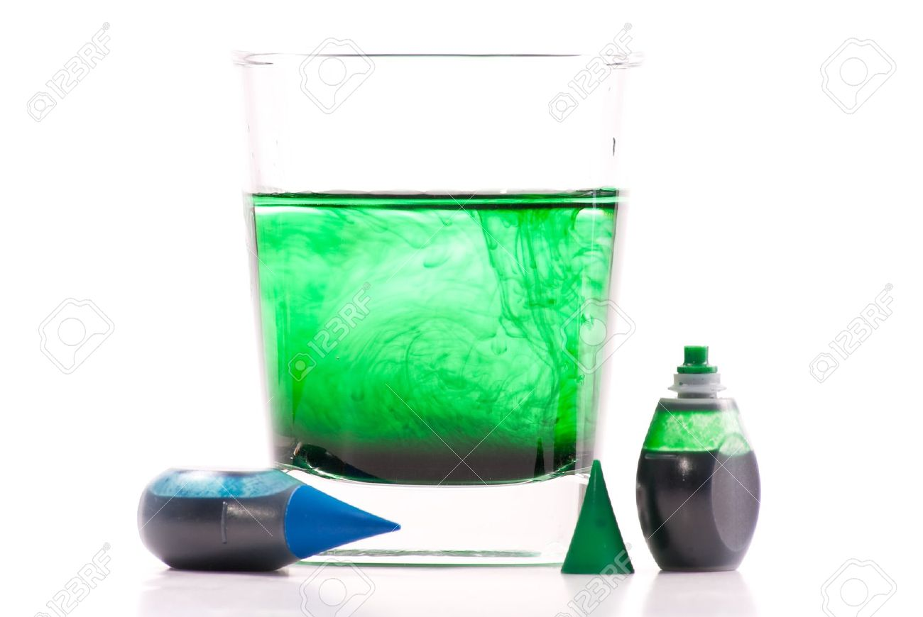 Green Food Coloring Swirling In Glass Of Water Stock Photo, Picture ...