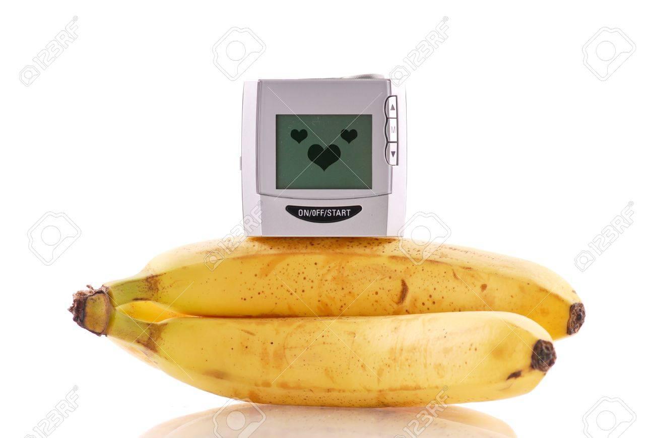 Blood Pressure Monitor on Bananas Stock Photo - 9357475