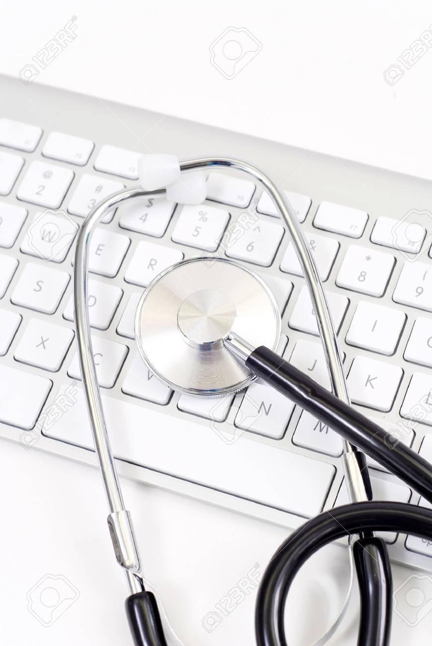 Stethoscope on Computer Keyboard Stock Photo - 9493764