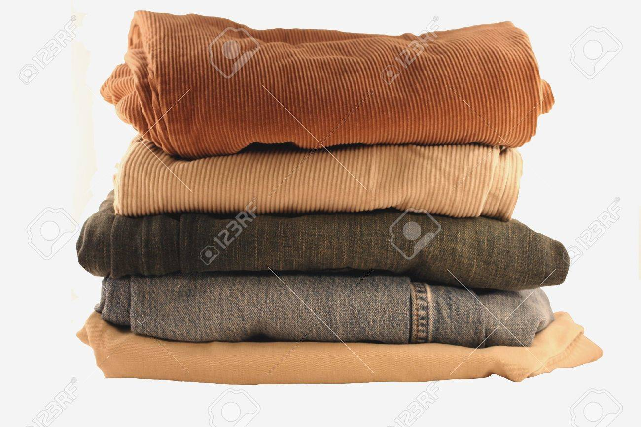 folded and stacked pants on a white background Stock Photo - 2825509