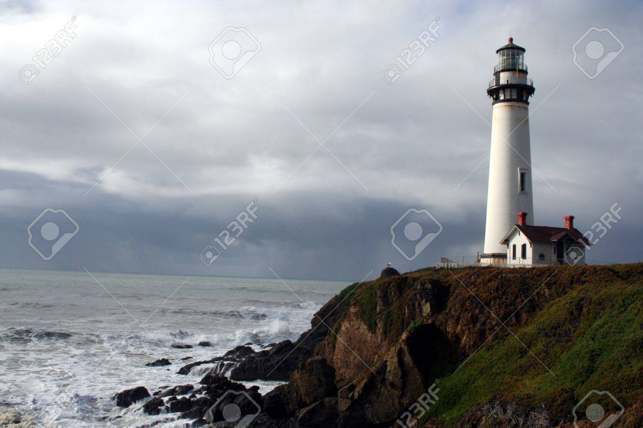 Pigeon Point Lighthouse California Coast with a storm coming in Stock Photo - 3064668
