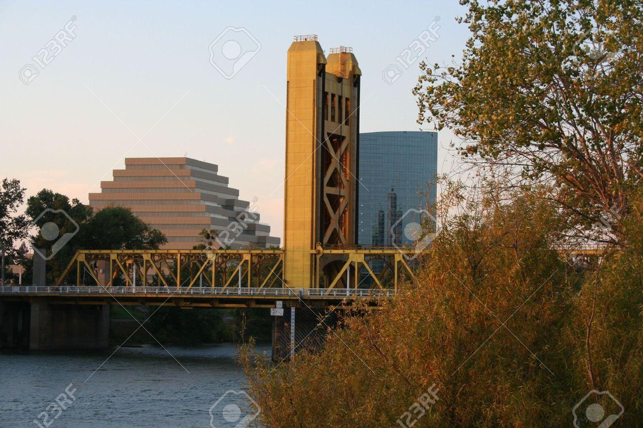 The Tower Bridge in Sacramento California at dusk Stock Photo - 3768069