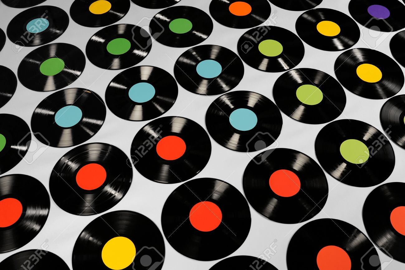 Music - Vinyl records Colorful collection of vinyl records,