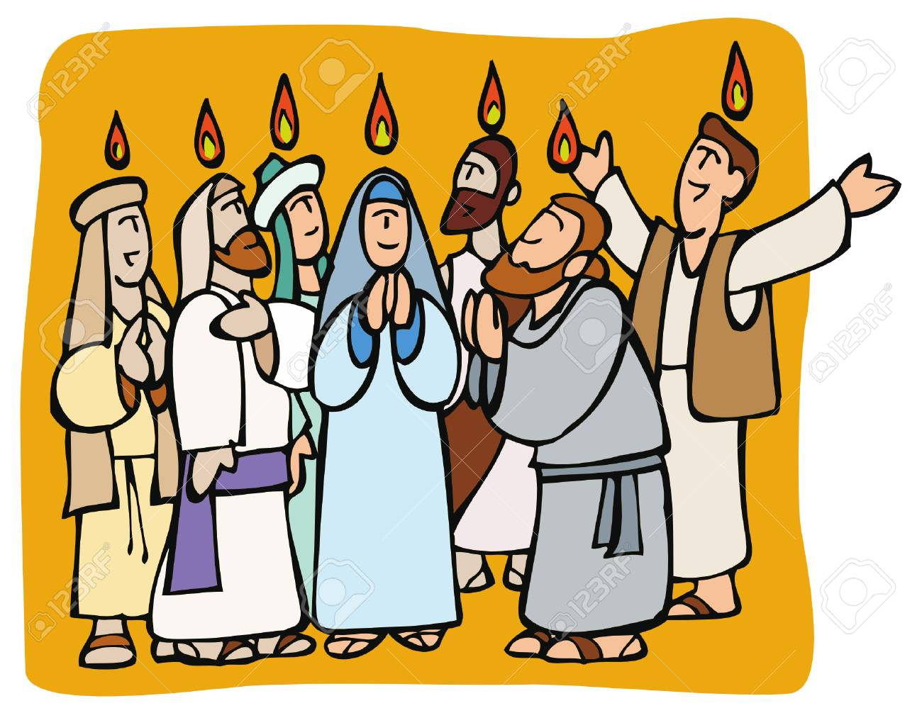 Pentecost. Apostles and Mary praying in tongues and fire above them while receiving the Holy Spirit - 90338300