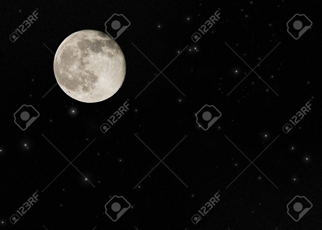 Near full moon on a large star field Stock Photo - 4358643