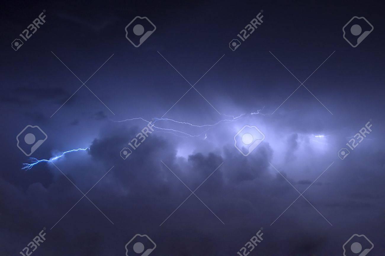 Cloud to Cloud Lightning Strike Before Rain Showers Stock Photo - 5362835
