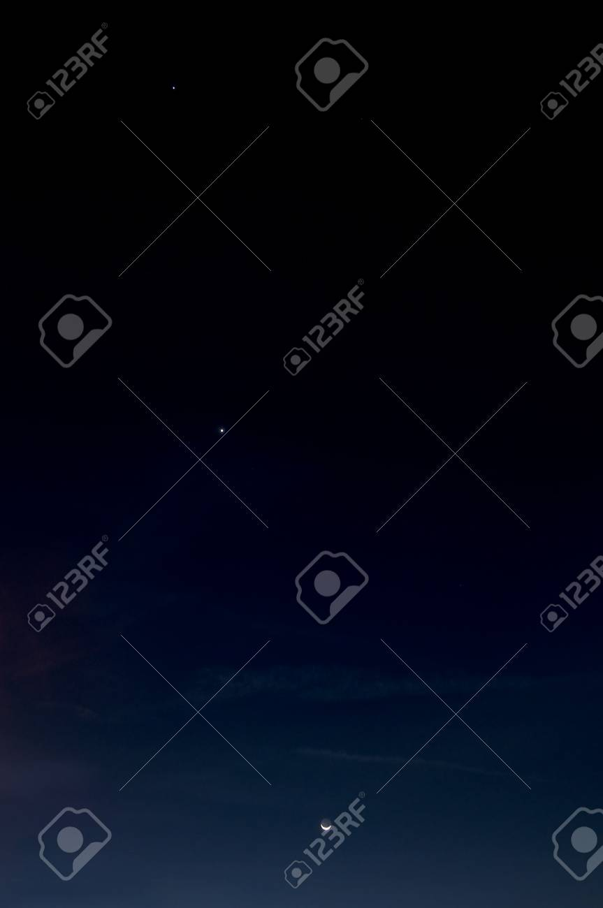 Moon and two stars lined up right after sunset Stock Photo - 12576930