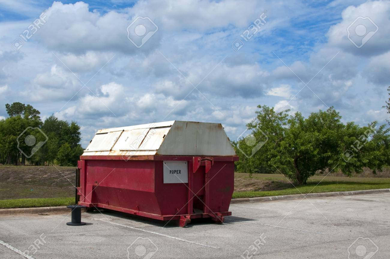 Red Paper industrial recycling dumpster marked for paper only Stock Photo - 13505612