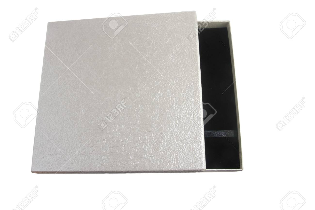 opened leather silver case with black interior isolated Stock Photo - 11707059