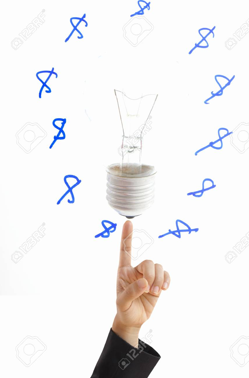 Businesswoman hand showwing marketing concept bulb,isolated Stock Photo - 12084613