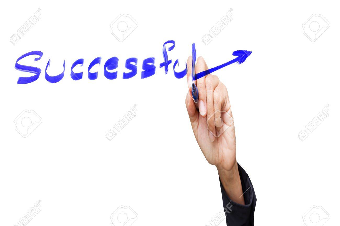 hand writing with successful  word,isolated Stock Photo - 12298304