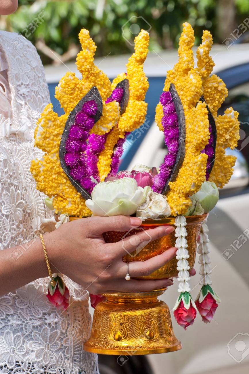 Thai people holding flower for wedding ceremony in Thailand Stock Photo - 12657368
