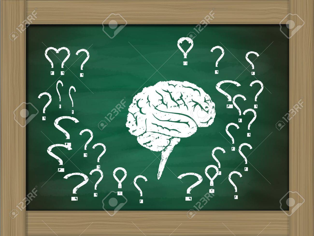 brain thinking conceptual on green chalkboard Stock Photo - 14031784