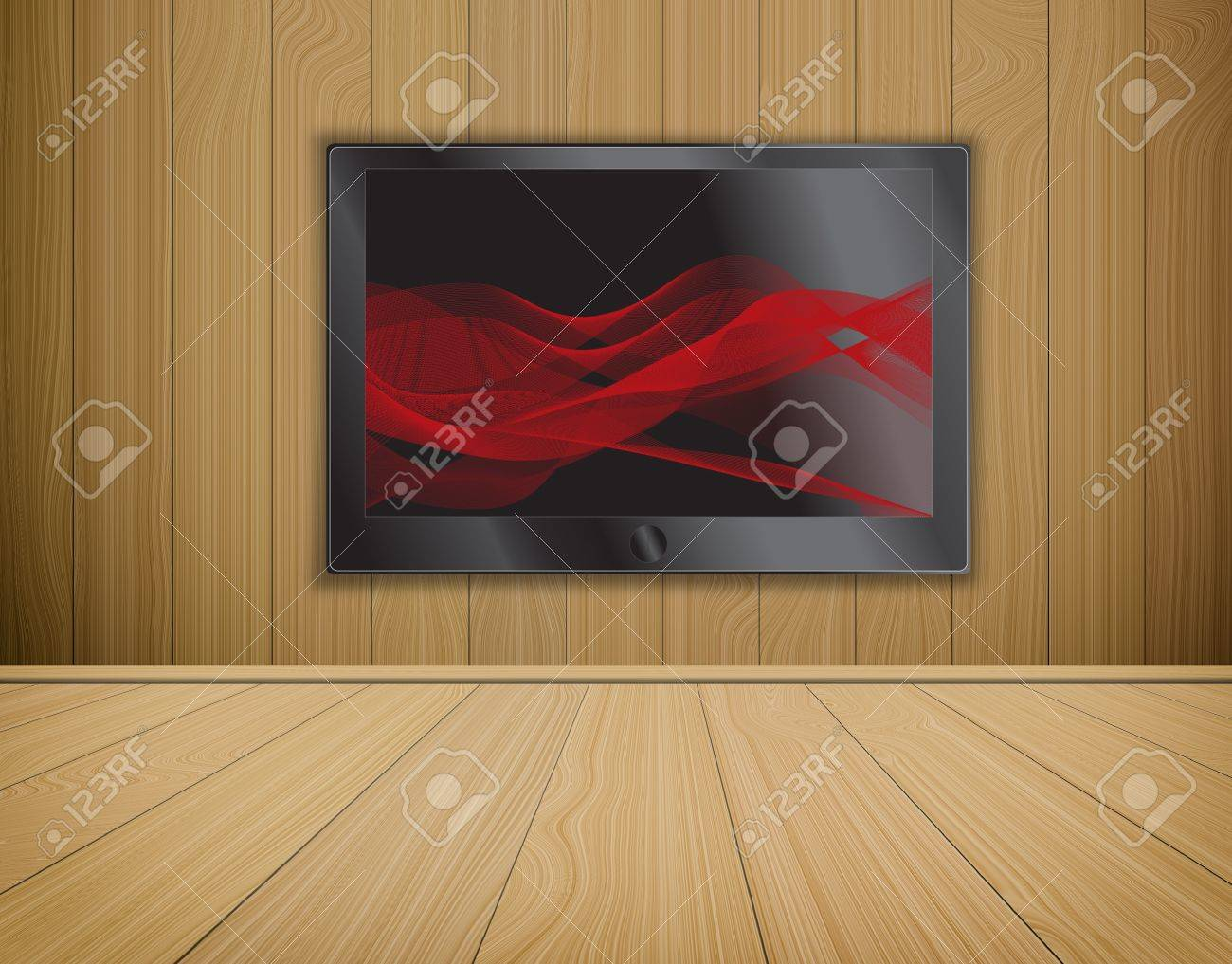 lcd TV screen on wood background,room interior Stock Photo - 14031813