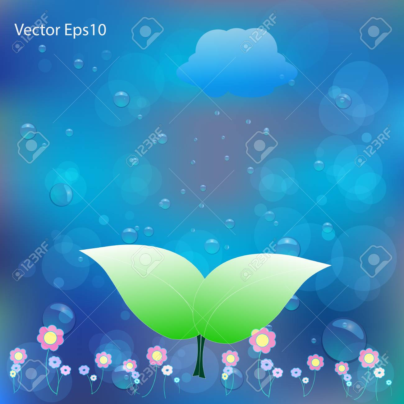 Green leaf on water bubbles and bokeh gradient blue background,Vector eps10 Stock Vector - 17011651