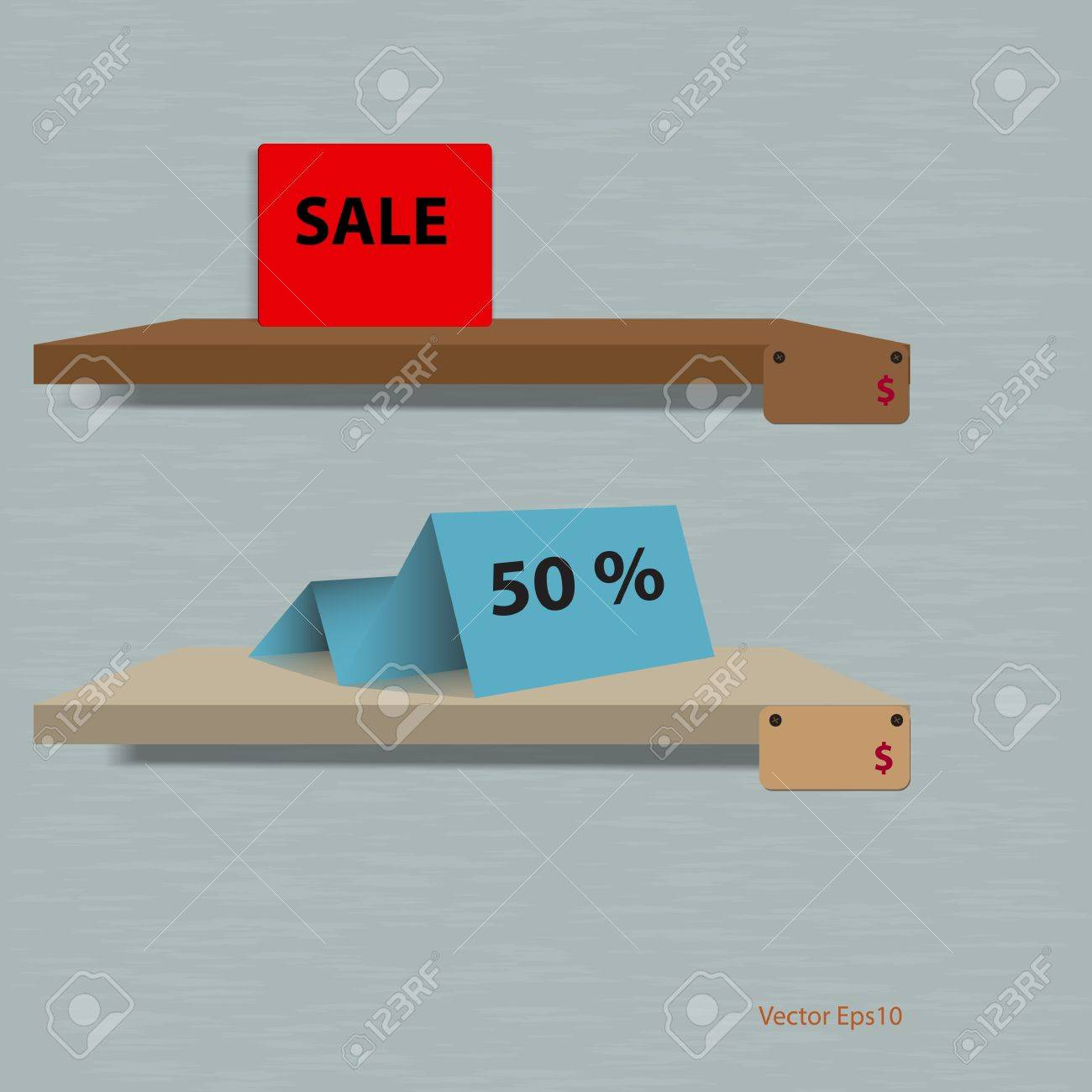 Discount sale label on shelf with grunge background ,vector design eps10 Stock Vector - 18292684