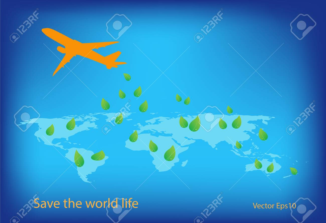 Green concept forest performing by blows seed from airplane Stock Vector - 18318325