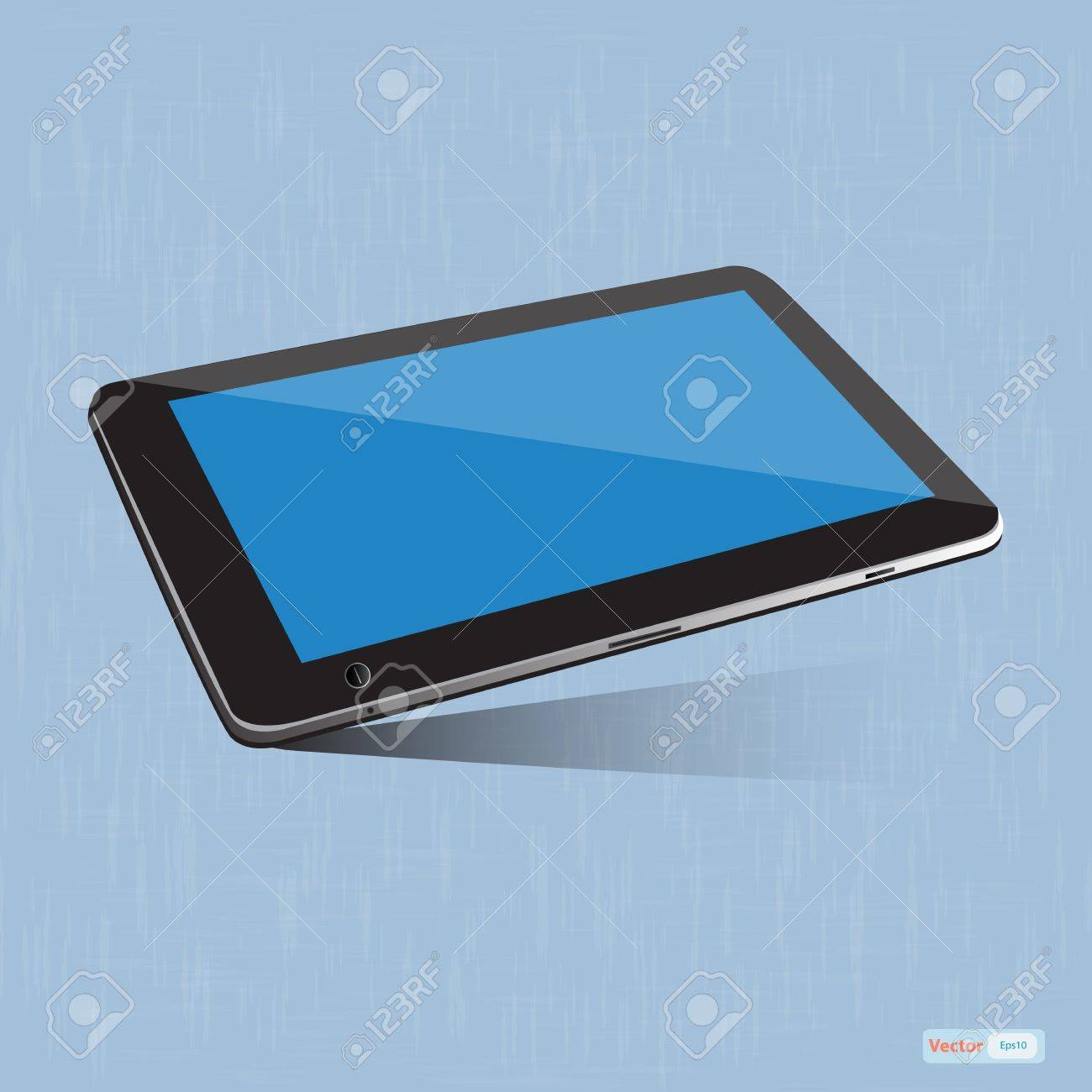 Tablet pc touchscreen on blue background Stock Vector - 18891051