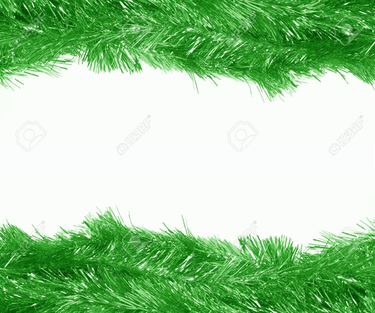Picture frame christmas ornaments - Christmas Ornaments Green Frame On White Background Stock Photo 24222277