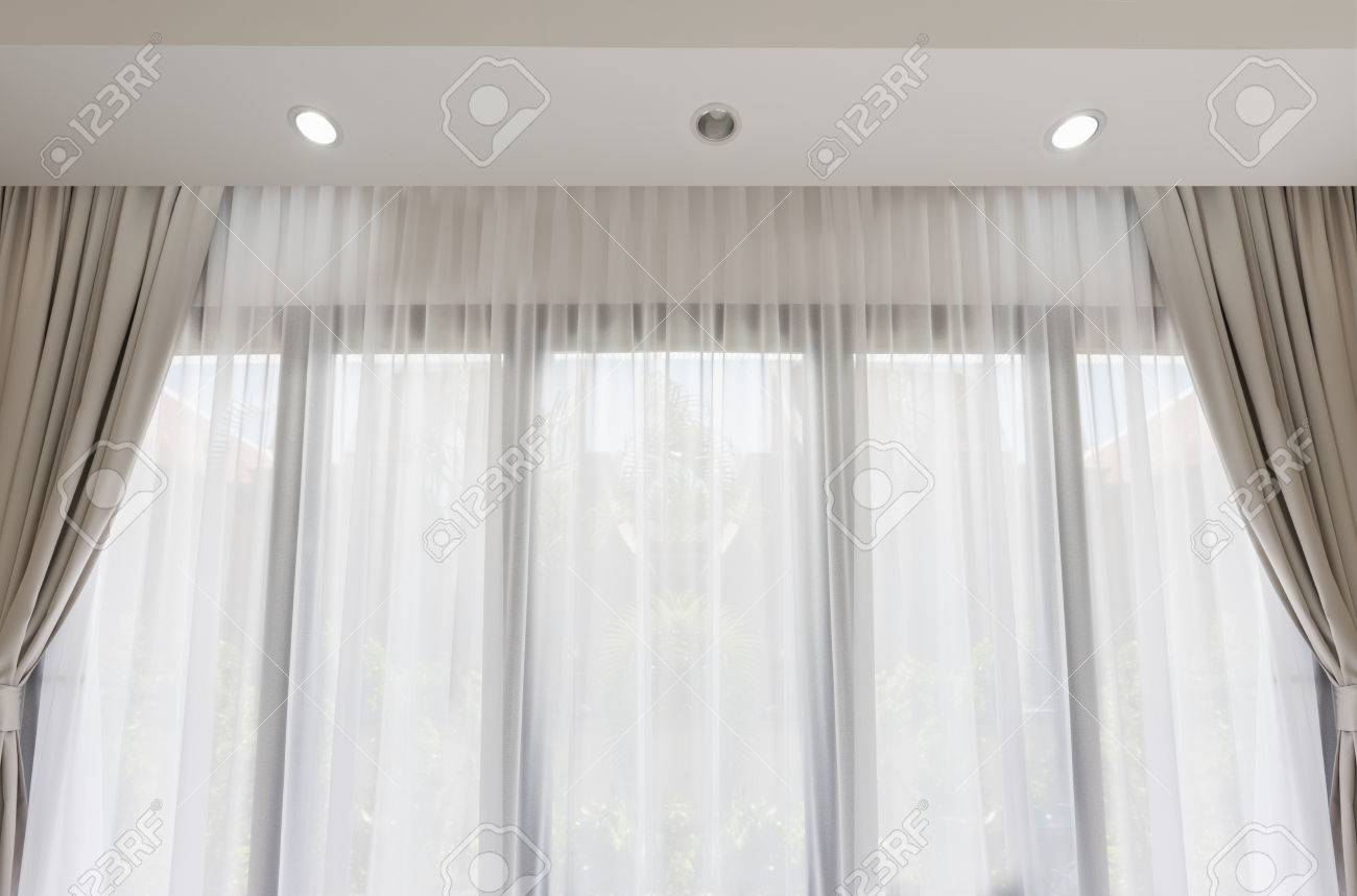Modern Living Room With Soft White And Gray Curtain Background Stock Photo Picture And Royalty Free Image Image 60898114