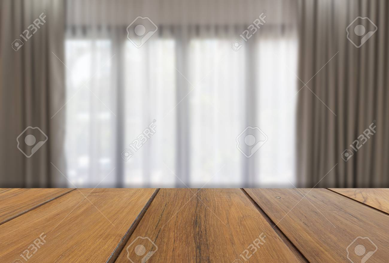 Wooden Table With Modern Gray And White Curtains In Living Room Stock Photo Picture And Royalty Free Image Image 60898155