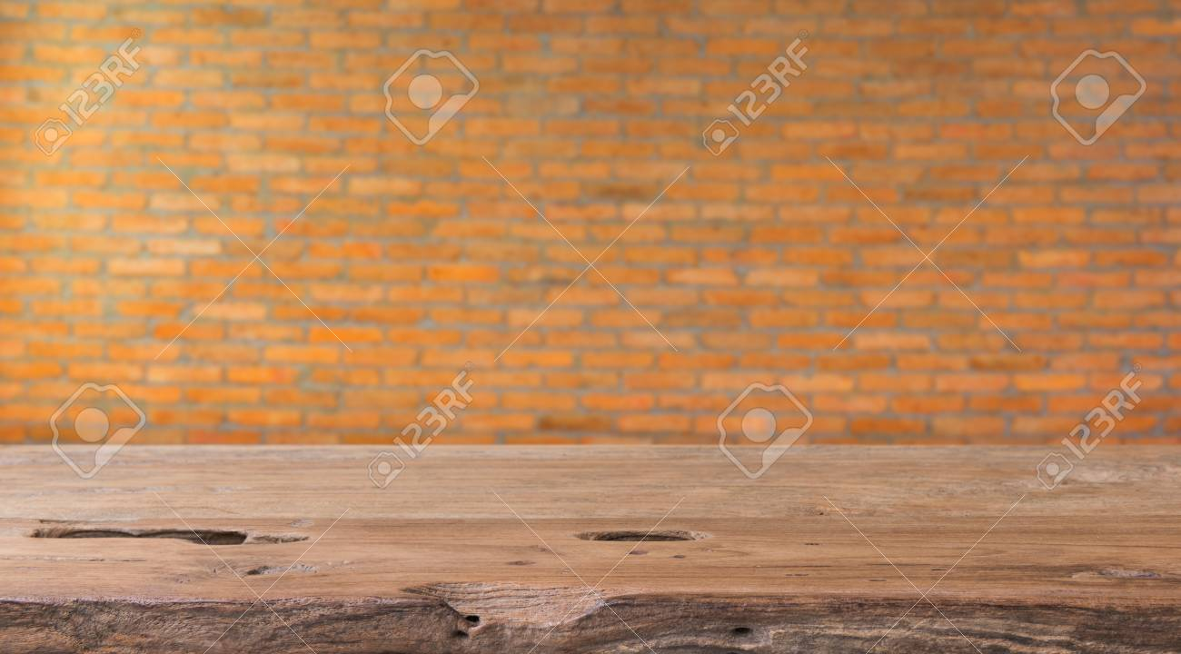Teak Wood Table Top Will Brick Wall Background